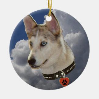 Serene Husky Dog in Fluffy White Clouds Ceramic Ornament
