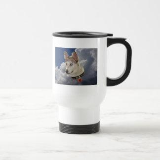 Serene Husky Dog in Fluffy White Clouds Travel Mug