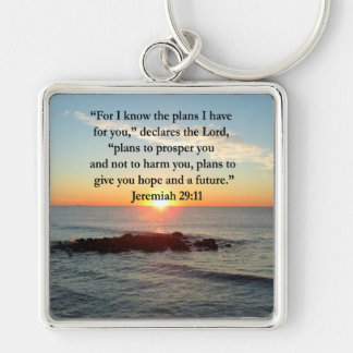SERENE JEREMIAH 29:11 SUNRISE Silver-Colored SQUARE KEYCHAIN