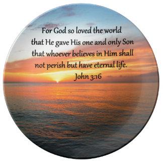SERENE JOHN 3:16 SUNRISE PHOTO DINNER PLATE