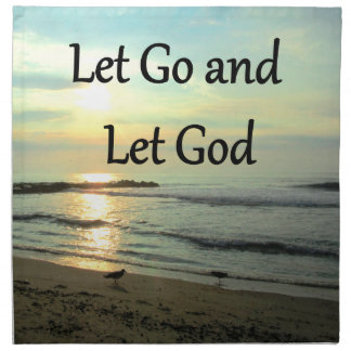 SERENE LET GO AND LET GOD OCEAN PHOTO CLOTH NAPKIN
