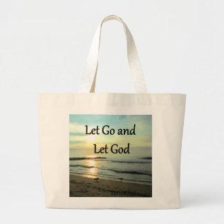 SERENE LET GO AND LET GOD OCEAN PHOTO LARGE TOTE BAG