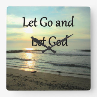SERENE LET GO AND LET GOD OCEAN PHOTO SQUARE WALL CLOCK