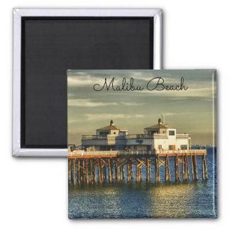 Serene Malibu Beach Pier California 2 Inch Square Magnet