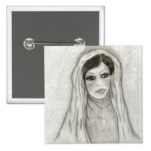 Serene Mary 2 Inch Square Button