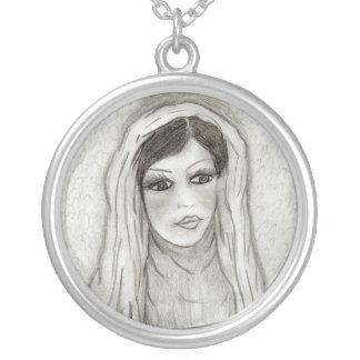 Serene Mary Round Pendant Necklace
