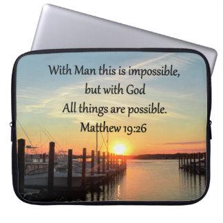 SERENE MATTHEW 19:26 SUNSET PHOTO DESIGN COMPUTER SLEEVE