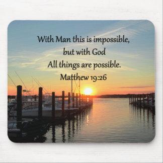 SERENE MATTHEW 19:26 SUNSET PHOTO DESIGN MOUSE PAD