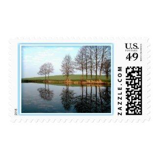 Serene Nature Reflection On Pond Postage Stamp Postage Stamp