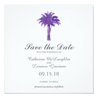 Serene Palm Tree Purple Watercolor | Save the Date Card