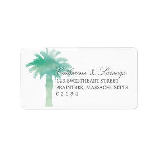 Serene Palm Tree Watercolor | Address Address Label