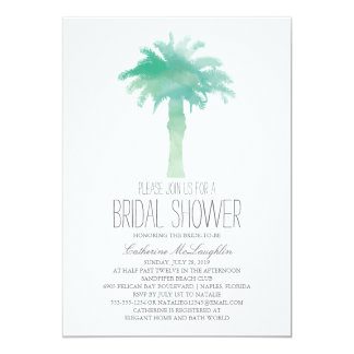 Serene Palm Tree Watercolor | Bridal Shower Card