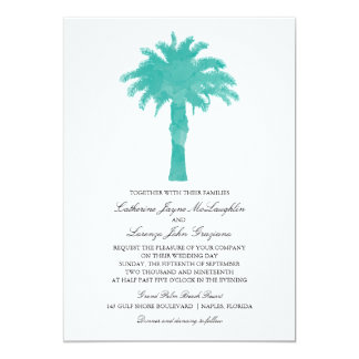 Serene Palm Tree Watercolor  | Wedding Card
