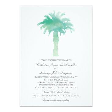 labellarue Serene Palm Tree Watercolor  | Wedding Card