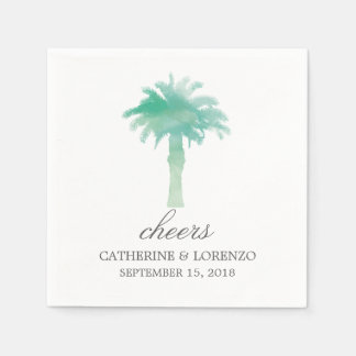Serene Palm Tree Watercolor | Wedding Napkin