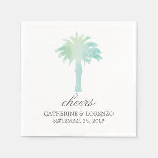 Serene Palm Tree Watercolor | Wedding Paper Napkin
