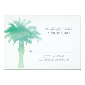 Serene Palm Tree Watercolor  | Wedding RSVP 3.5x5 Paper Invitation Card