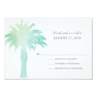 Serene Palm Tree Watercolor  | Wedding RSVP Card