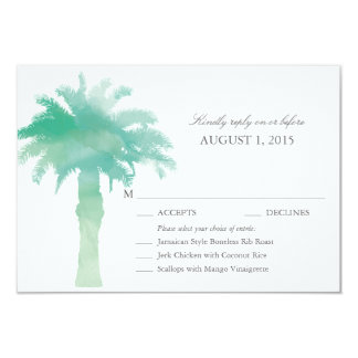Serene Palm Tree Watercolor Wedding RSVP w/ menu Card