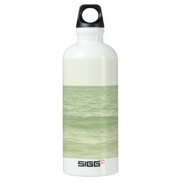 Beach Themed Serene Pastel Photograph Mint Green Ocean Aluminum Water Bottle