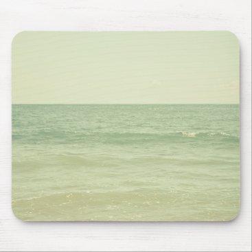 Beach Themed Serene Pastel Photograph Mint Green Ocean Mouse Pad