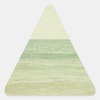 Serene Pastel Photograph Mint Green Ocean Triangle Sticker