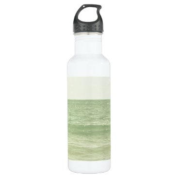 Beach Themed Serene Pastel Photograph Mint Green Ocean Water Bottle