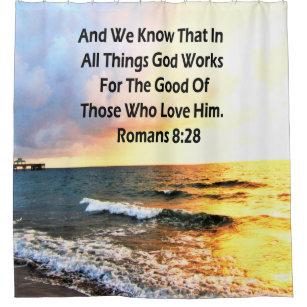 SERENE ROMANS 828 SCRIPTURE VERSE SHOWER CURTAIN