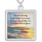SERENE SERENITY PRAYER SUNRISE PHOTO DESIGN SILVER PLATED NECKLACE
