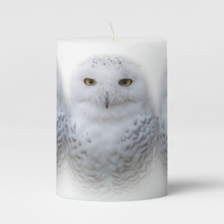 Serene Snowy Owls Pillar Candle