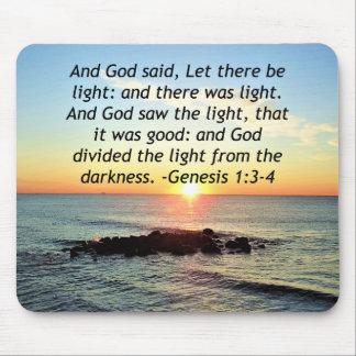 Serene Sunrise Genesis 1:3 Bible Design Mouse Pad