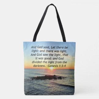 Serene Sunrise Genesis 1:3 Bible Design Tote Bag