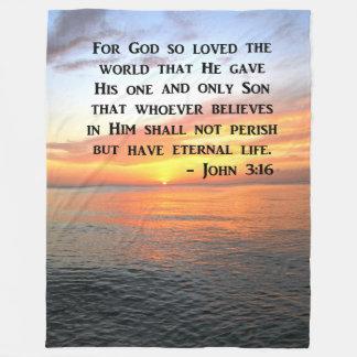 SERENE SUNRISE JOHN 3:16 PHOTO DESIGN FLEECE BLANKET