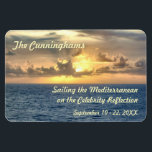 """Serene Sunrise Stateroom Door Marker Magnet<br><div class=""""desc"""">Add the beauty of an ocean sunrise to your stateroom door,  along with your name and voyage information.  A cabin identification magnet becomes a special personalized souvenirs after your cruise is over.  Just don&#39;t forget to remove it and take it along as you disembark!</div>"""