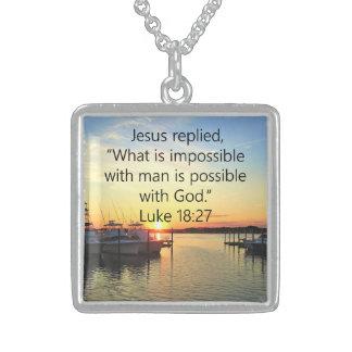SERENE SUNSET LUKE 18:27 SCRIPTURE DESIGN STERLING SILVER NECKLACE