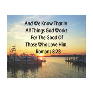 SERENE SUNSET ROMANS 8:28 BIBLE VERSE CANVAS PRINT