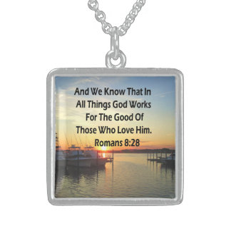 SERENE SUNSET ROMANS 8:28 BIBLE VERSE STERLING SILVER NECKLACE