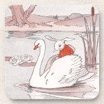Serene Swan Gives Rabbit a Lift Beverage Coaster