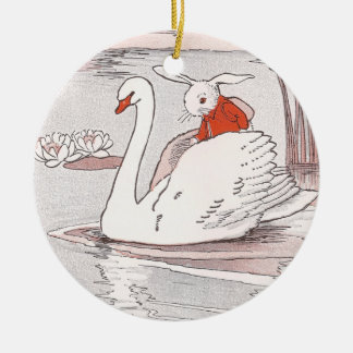 Serene Swan Gives Rabbit a Lift Ceramic Ornament