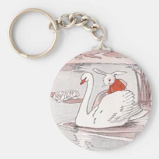 Serene Swan Gives Rabbit a Lift Keychain