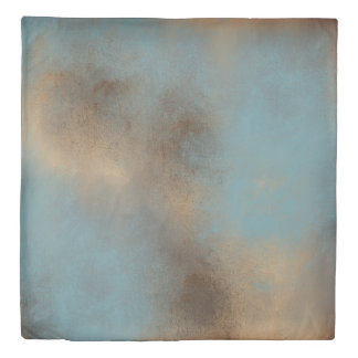 Serene Teal-Blue, Gold and Brown   Duvet Cover