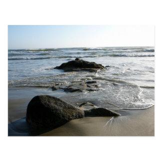 Serene waves over rocks postcard