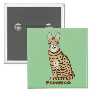 Serengeti Cat Breed Customizable 2 Inch Square Button