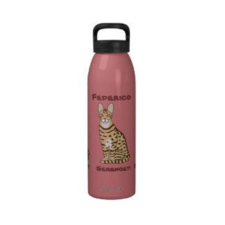 Serengeti Cat Breed Customizable Drinking Bottles