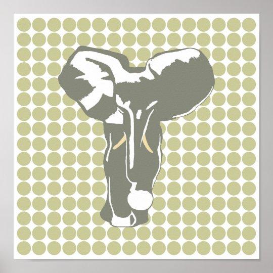 Serengeti Safari Dot with Pop Art Elephant Poster