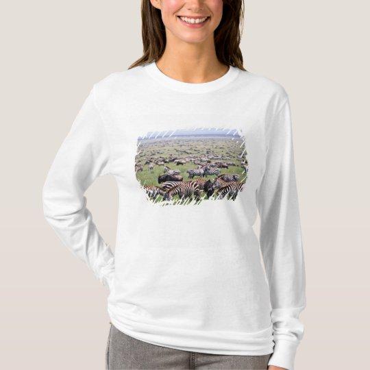 Serengetti Plains full of herds of Zebras and T-Shirt