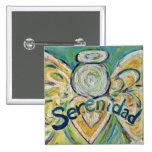 Serenidad Angel Art Button Pin Pendant (Square)