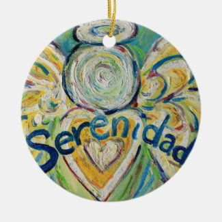 Serenidad Angel Word Art Gift Holiday Ornament