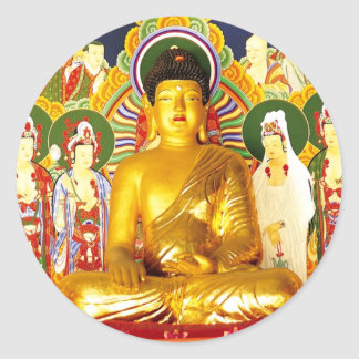 Serenidad de la tranquilidad de la paz de Buda Pegatina Redonda