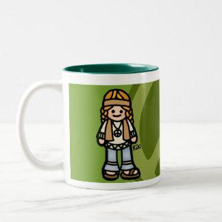 serenidad del sorbo taza de café de dos colores